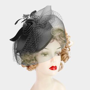 Accessories - Embellished Feather Mesh Fascinator Hat